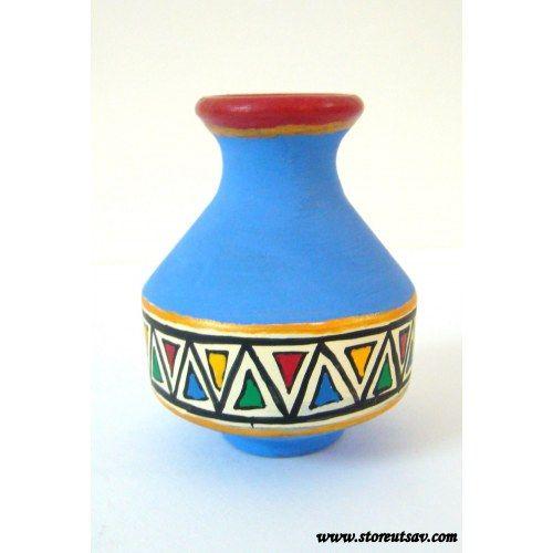 Terracotta Vase Red Rajasthani with Tribal Warli Painting by Store Utsav (www.storeutsav.com)