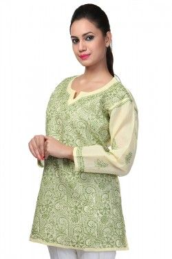 #Short Tops #Lucknow Chikankari Yellow Cotton Top by Ada Chikan Price: Rs 599 Buy now: https://goo.gl/FS8YGK #FreeShipping #WorldwideShipping #CashOnDelivery #EasyReturns # Product Code : A90772