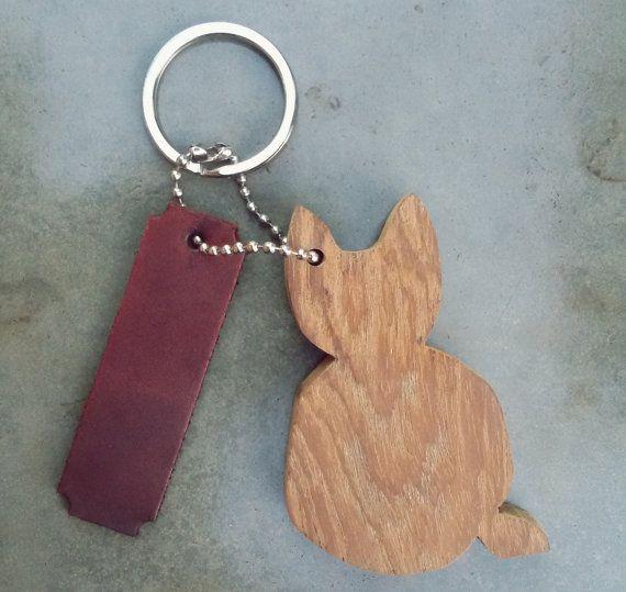 CatKeychain WoodHandmade KeychainWood catwood by ispoopaa1979