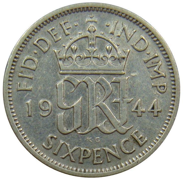 (B20) - Grossbritannien United Kingdom - 6 Pence 1944 Monogramm - VF - KM# 852 #coin #coins #numismatic #numismatics #numismatik #münzen #currency #money #ebay