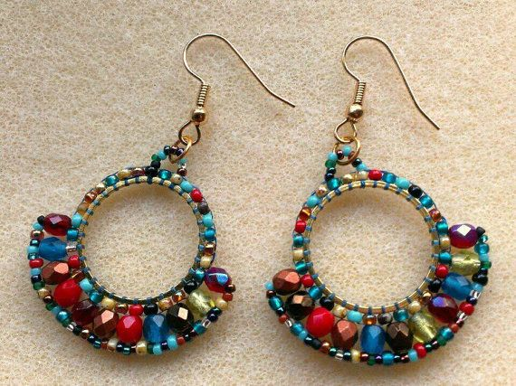 Hey, I found this really awesome Etsy listing at https://www.etsy.com/listing/165746432/beaded-fan-earring-harlequin-multicolour