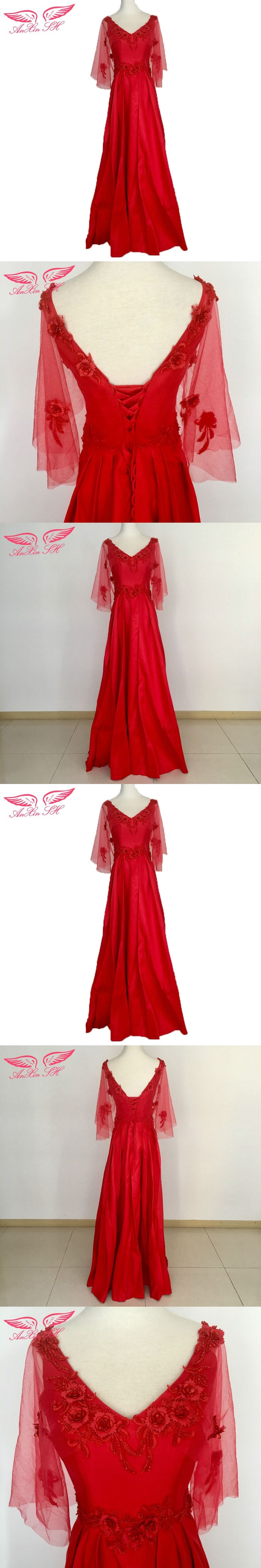 AnXin SH Red flower evening dress red rose lace evening dress princess flower evening dress 100% Real Pictures 2201