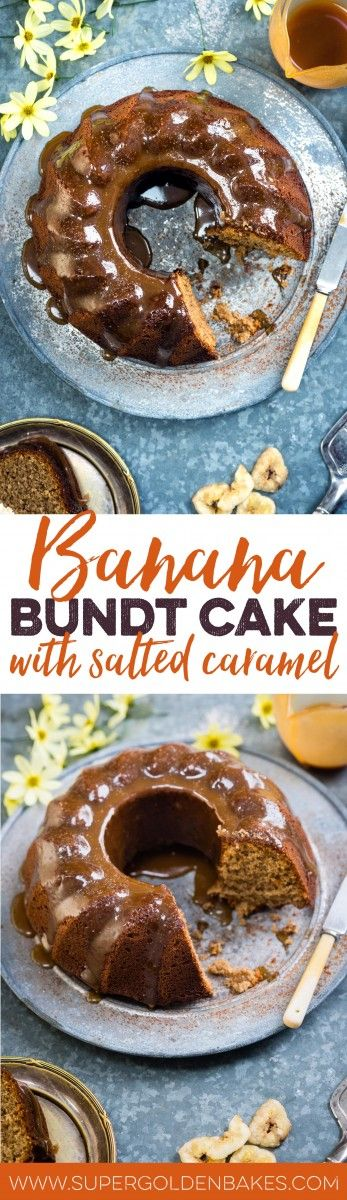 This gluten-free banana bundt cake with salted caramel is super-easy and tastes totally amazing! If gluten is not a concern, you can use all-purpose flour | Supergolden Bakes