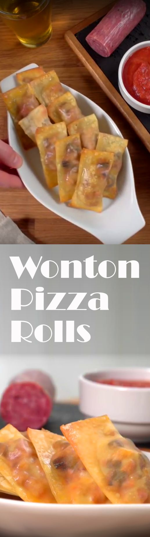 "Wonton Pizza Rolls Recipe | All the ""yum"" of pizza in a bite-sized package. Mix in Italian sausage, garlic, peppers, pepperoni, mozzarella, sauce, onions and mushroom in wrap it up in a wonton, then bake and enjoy. As easy as that! Click for the video and how to. #easyapps #pizzabites"