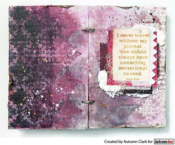 Variegated embossing effect using Darkroom Door Star Border Stamp and Journal Quote Stamp.