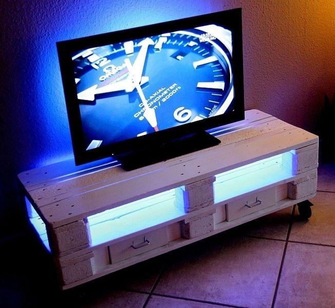 Sideboard Im Shabby Style Aus Europaletten Weiß   *Coole Lounge Möbel Aus  Europaletten* Bei Diesem TV Sideboard Im Shabby Style Handelt Es Sich Um  Ein ...
