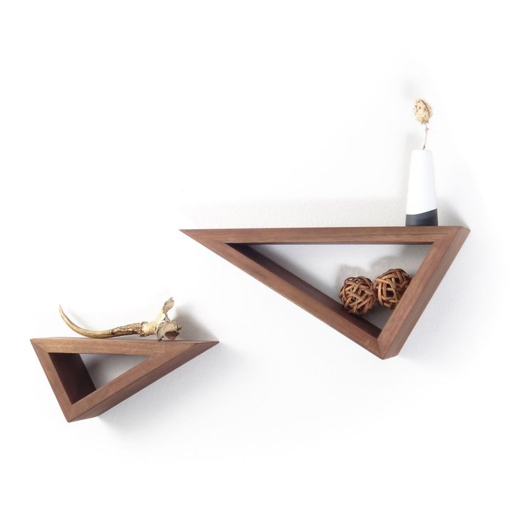 Fernweh Woodworking || Triangular Floating Black Walnut Shelves