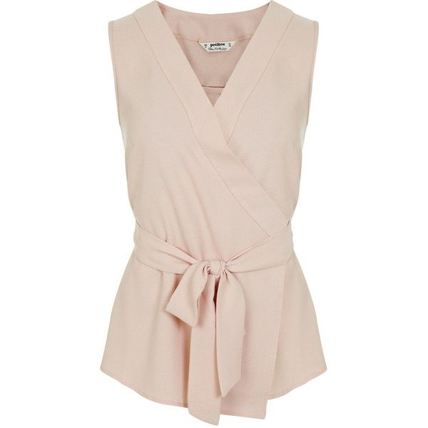 Miss Selfridge Petites Wrap Sleeveless Blouse (£34) ❤ liked on Polyvore featuring tops, blouses, pale pink, petite, wrap top, sleeveless wrap blouse, miss selfridge, petite blouses and wrap style tops