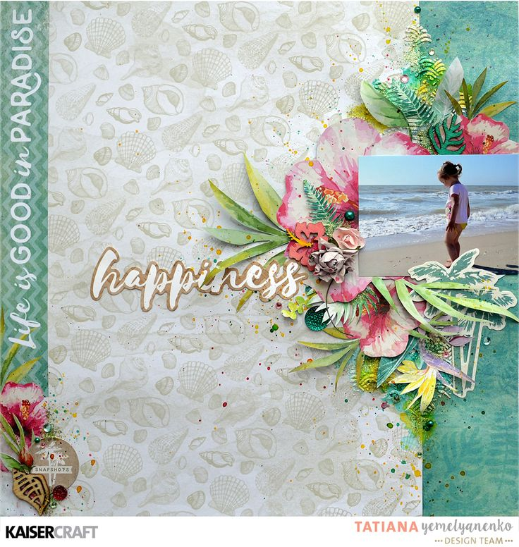 Hi!   Today I came back with new layout for Kaisercraft featuring tropical collection 'Island Escape'. For my background I combined three...