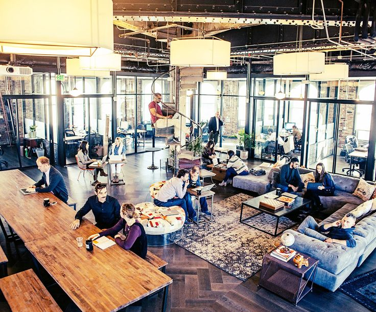 WeWork, San Francisco. Founded by Adam Neumann and Mort Zuckerman. Industrial-chic workspaces. The Coolest Co-Working Offices in America via @MyDomaine