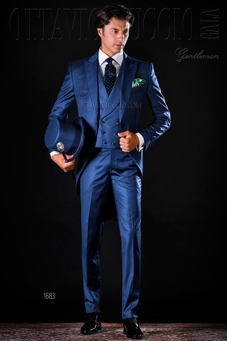 Three piece blue morning suit #groom #wedding #tuxedo #luxury #menswear #madeinitaly #blue