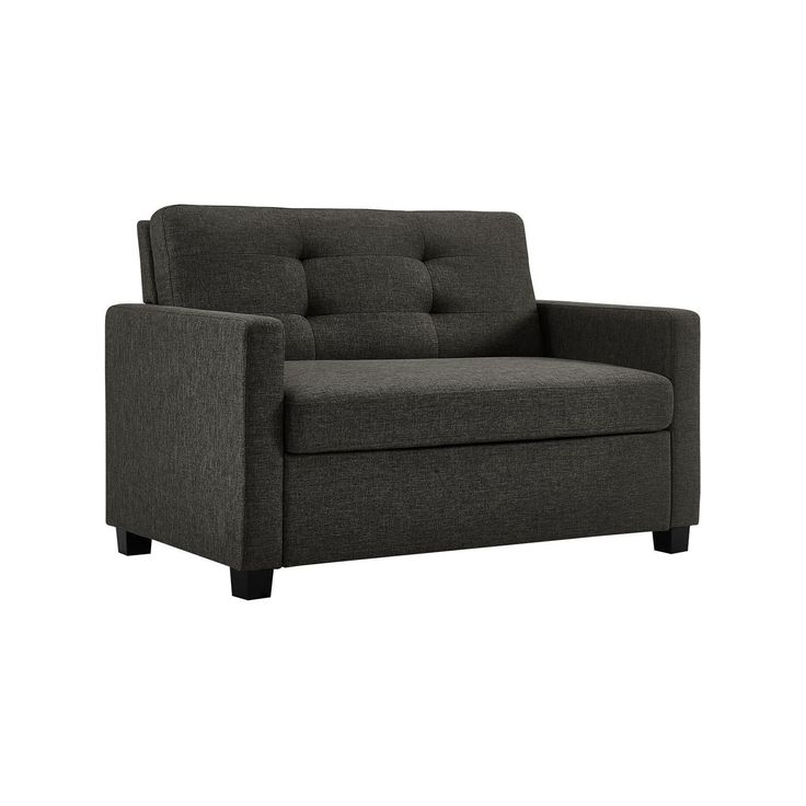 This 2-in-1 twin sleeper sofa is made to match any home, adding a contemporary touch to classic and modern décor alike in a size that fits even the smallest spaces. The grey linen upholstery with tufted back creates a sense of style in addition to a comfortable place to sit—all thanks to an independently encased coil seat cushion. When guests visit, simply open the sofa bed to reveal a convenient twin-size CertiPUR-US® Certified Memory Foam Mattress, which offers a...