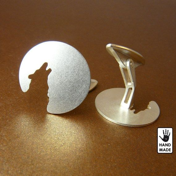 LONE WOLF Cuff links  solid sterling silver by StefanoArt on Etsy, $75.00