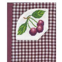 Cherries Cross Stitch Gingham Notebook