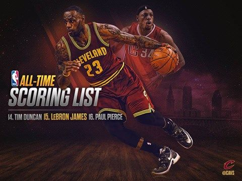 With 29 points tonight, LeBron James passed Paul Pierce on the NBA's all-time scoring list. 2/10/2016