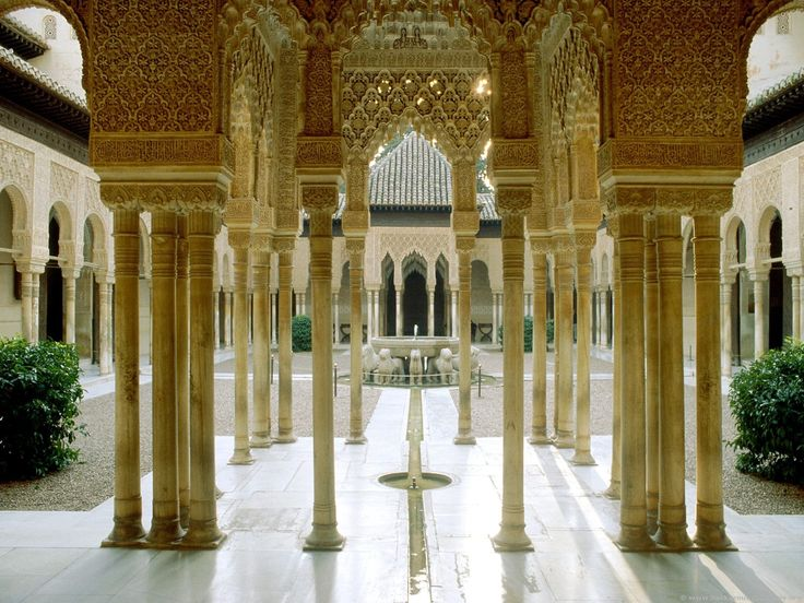 Court of Lions at the Alhambra in Granada, Spain.
