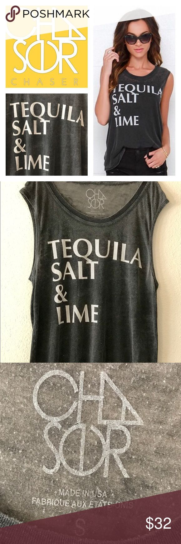 "CHASER BRAND-TEQUILA SALT & LIME WASHED BLACK TOP Excellent Condition. Worn handful of times. CHASER BRAND- washed black burnout tee is ultra soft and lightweight across a crew neckline with muscle-cut sleeves and a straight-cut bodice. ""Tequila Salt & Lime"" is printed in bold washed ivory text across the front. Size Small. Chaser Tops Tank Tops"
