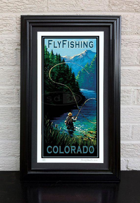 Fly Fishing Colorado travel vacation by ScottDawsonArtPrints, $55.00
