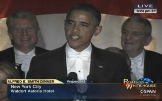 Obama Roasts Himself, Jabs At Romney And Even Elbows Chris Matthews During Al Smith Dinner