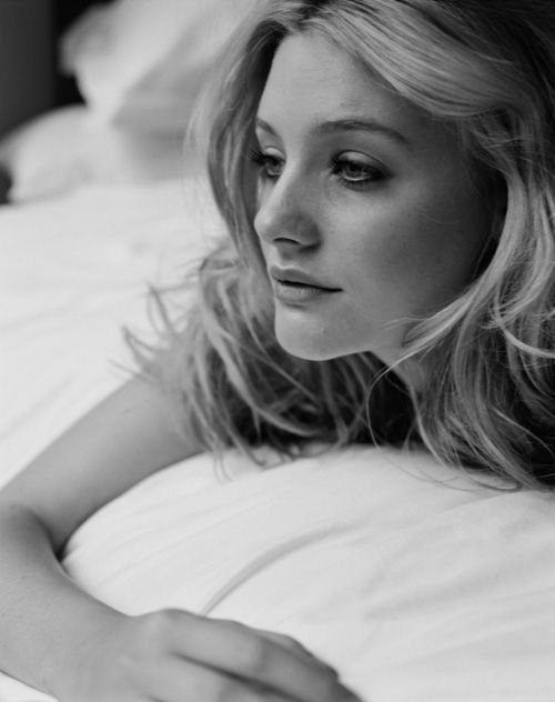 Romola Garai, black and white, lying in bed http://RomolaGarai.org