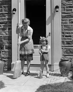 mother and daughter sweeping