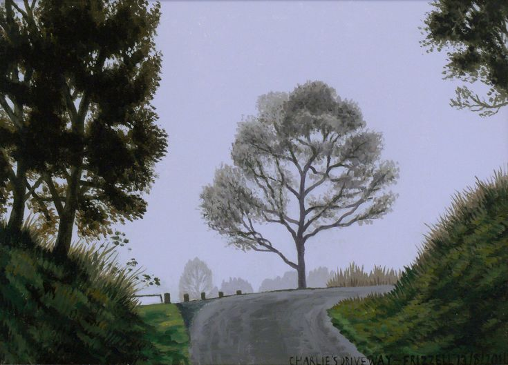 Dick Frizzell, 2014, Charlie's Driveway, acrylic on canvas, 470x570mm