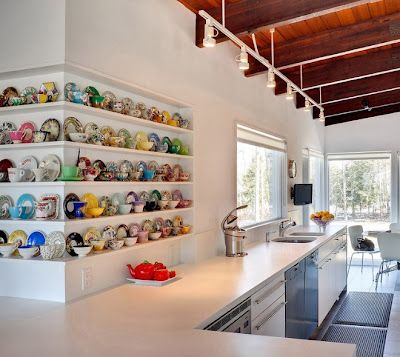 love how the kitchen is super minimlalist except for the beautiful colourful whimsy of the tea cup collection.