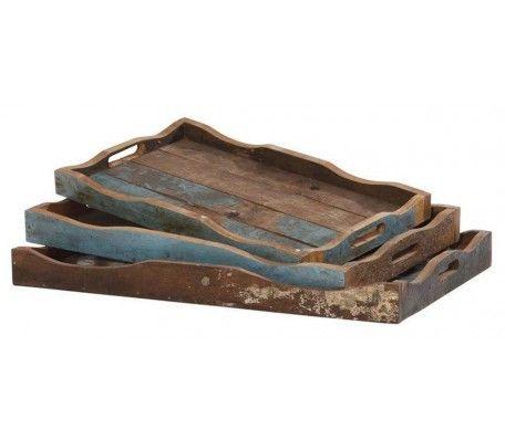 fishboat hout dienblad - Setje van 3 dienbladen in hout van oude vissersboten in verschillende afmetingen