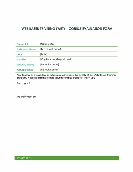 training course evaluation form template