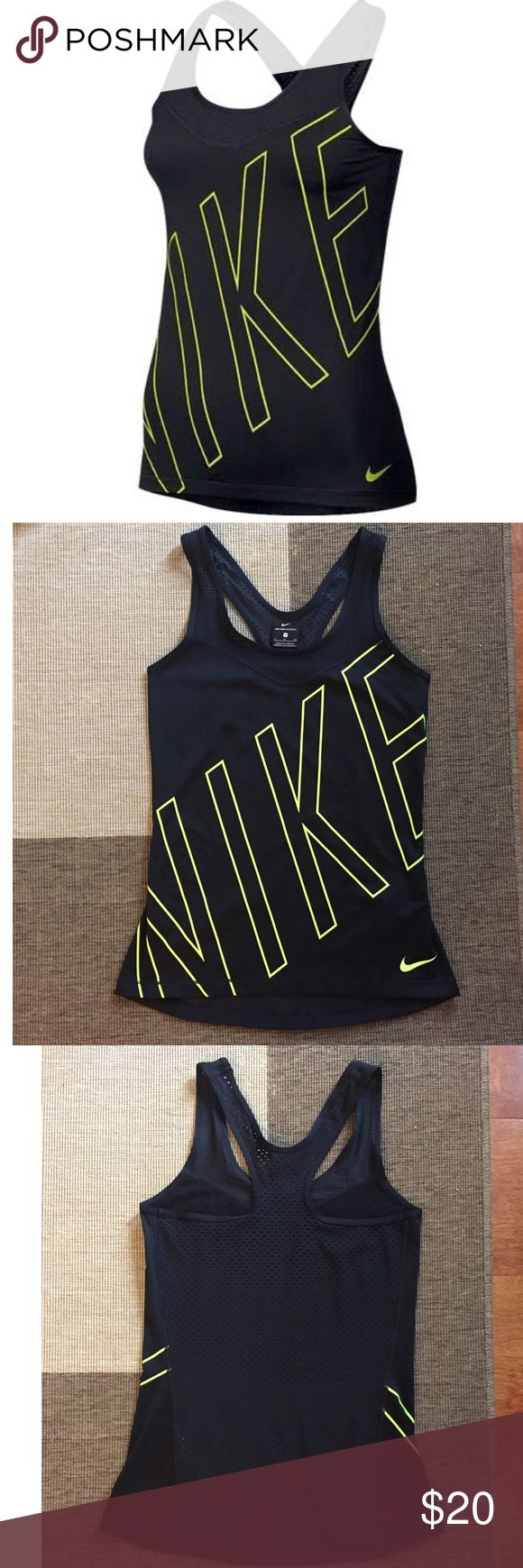 Nike Pro Women's Hypercool Tank Sweat-wicking stretch fabric to help keep you cool and dry during competition.  Racerback for enhanced range of motion.  Open-mesh back panel for excellent ventilation.  Fitted.  Dri-FIT 84% polyester/16% spandex.  New.  No flaws Nike Tops Tank Tops