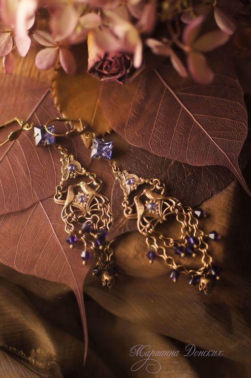"""Купить Серьги """"Райские птицы"""" - фиолетовый, винтажные украшения, винтажный…"""