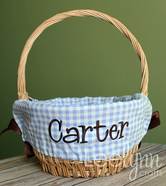 Personalized Easter Basket Liner  Light Blue by LeelynnCrafts