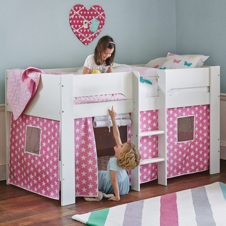Our new kids' bed is designed to be a fun but helpful addition to your family! Use the space underneath as a space for play, storage or sleeping bags on sleepovers.