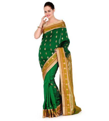Green Jacquard Art Silk Saree | Fabroop