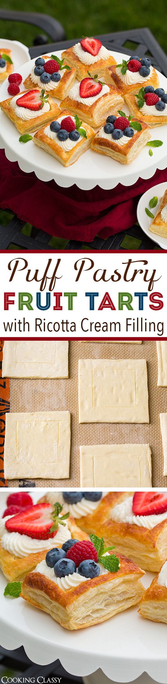 Puff Pastry Fruit Tarts with Ricotta Cream Filling - one of the BEST summer desserts! Oh so flaky pastry, rich creamy ricotta filling, and sweet fresh fruit. Can't wait to make them again!!