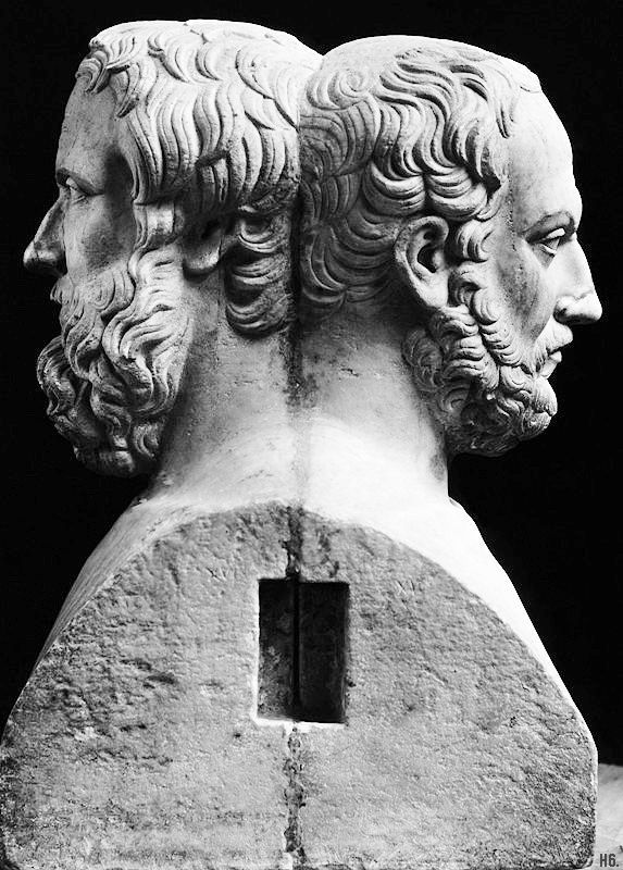 The double headed bust of Herodotus and Thucydides. Greek. 4th.century. BC.  National Archaeological Museum. Naples http://hadrian6.tumblr.com