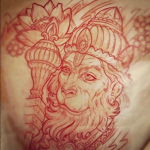 Hanuman Outline Tattoo Design