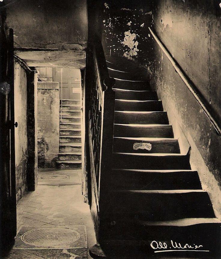 Albert Monier (1915-1998) Escalier 72, rue Mouffetard, Paris, 1952 (Postcard)