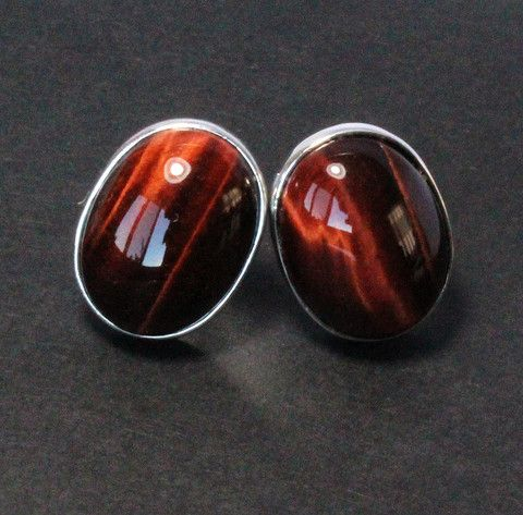 Red tiger eye falcon eye cabochon oval pair 925 solid silver post earrings - CLICK HERE