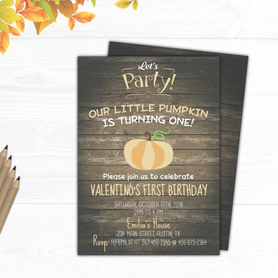 Pumpkin Birthday Invitation Pumpkin Birthday by CutePaperStudio