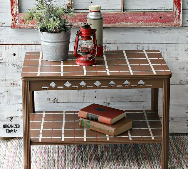 Vintage Table Goes Plaid With The Plaid Shirt Stencil