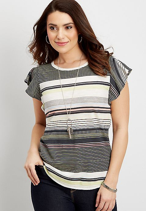 bacd7245ca1 the 24 7 striped shirt with ruffle sleeves