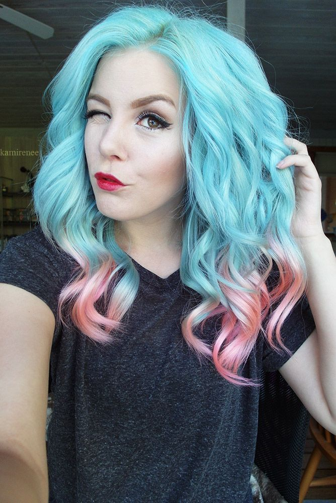 light blue hair with pink ends