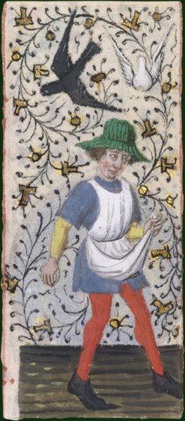 Le geste du semeur- looks like a rush hat  Heures à l'usage d'Amiens, Picardie, vers 1470-1480   Paris, BnF, département des Manuscrits, Latin 13263, fol. 10   Au XIVe siècle, l'usage d'un tablier de semailles se répand. Auparavant, les semences étaient contenues dans un repli du vêtement ou dans une simple pièce de tissu non teint. Ce sont toujours des hommes qui exécutent ce travail.