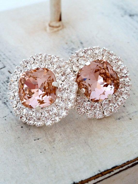 Blush Pink earrings | blush pink bridal stud earrings by EldorTinaJewelry | http://etsy.me/1ZrGfA4