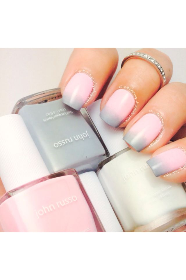 Super Sweet Girly gradient using @johnrussobeauty @johnrussonails Mog, Ava and Oriole Lane.  All 3 deliciously creamy and just plain Yum. Okay now for the Bad news........   I lost a corner on my middle nail  so had to file a further smidge. So happy I'm a Duri Rejuvacote user though as they should all be back to their midi length with a few weeks. In the meantime I'll just learn to love these shorties.