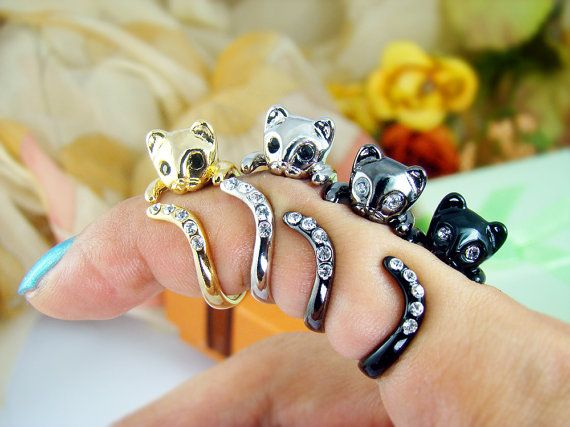 Womens Kitty Cat Ring Swarovski Crystals Adjustable by authfashion, $9.50