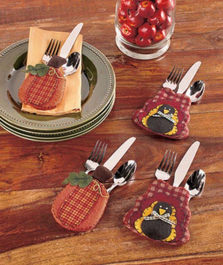 Flatware Holders Set Fall Harvest Holiday Thanksgiving 4 Silverware Utensil New