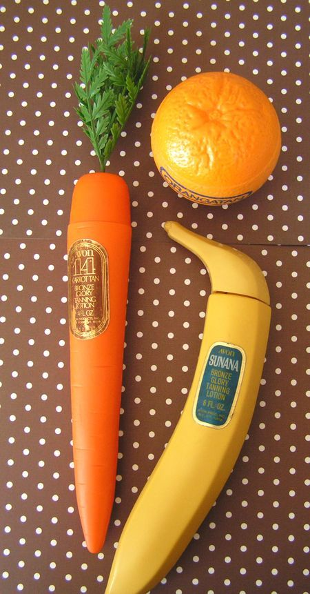Avon tanning lotion packaging. Carrot Tan, Orangatan and Sunana Banana.