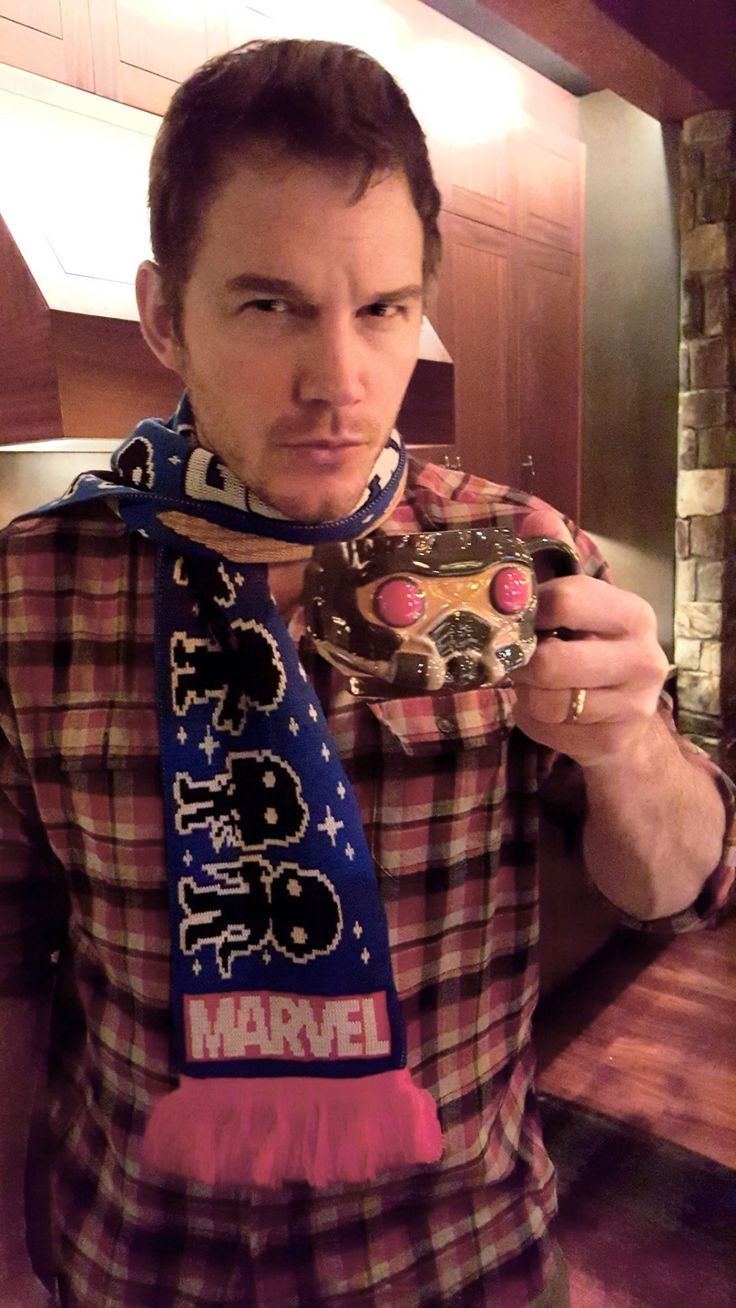 "verxxotle: "" Chris Pratt with the Guardians of the Galaxy Marvel Collector Corps Box. """